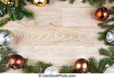 christmas decoration background on white wood