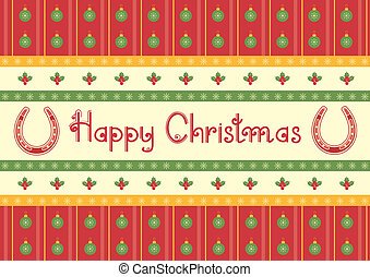 christmas decoration background with horseshoes and text
