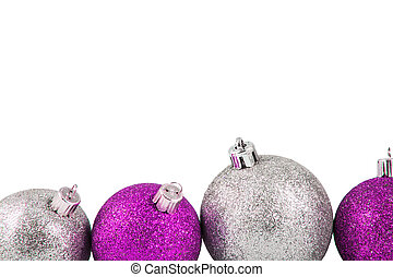 Christmas decoration ball on a white background with space for text