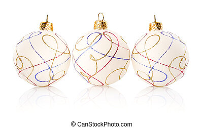 Christmas decoration balls isolated on white