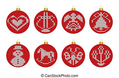 Christmas decoration balls with knitted texture in scandinavian style on white background.