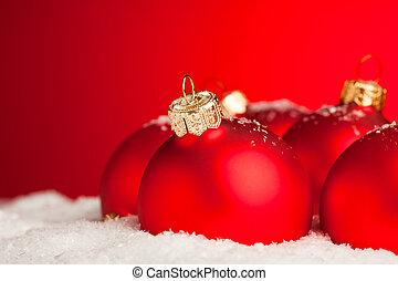 Christmas decoration balls with snow