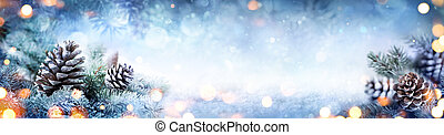 Christmas Decoration Banner - Snowy Pine Cones On Fir Branch...