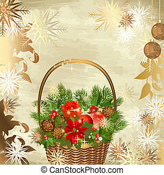 Christmas decoration basket with gifts
