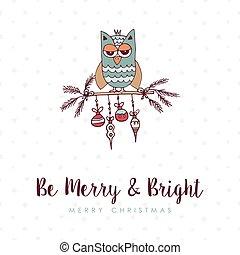 Christmas decoration bauble cute owl cartoon card - Merry...