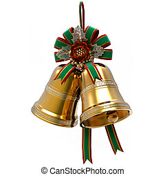 Christmas decoration. Bells Holly leaf and Ribbon