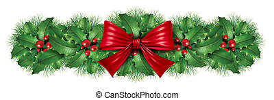 Christmas decoration border with red silk bow with pine...