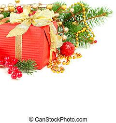 Christmas decoration border over white, background