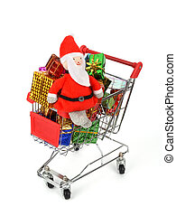 Christmas decoration box with shopping carts, shopping cart full with presents,