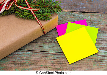 Christmas decoration. Boxes with Christmas gifts with sticky...