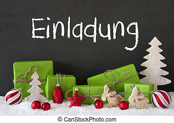 Christmas Decoration, Cement, Snow, Einladung Means...