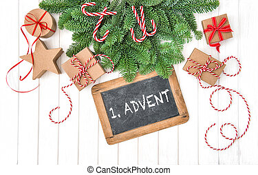 Christmas decoration chalkboard gifts pine tree branches Advent