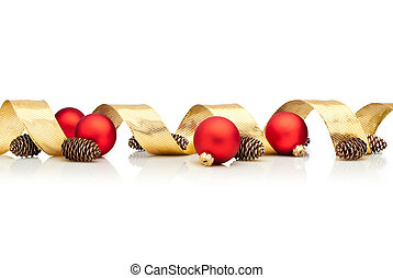 Christmas decoration with golden ribbon, cones and red glass balls isolated over white background
