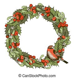 Christmas decoration - Christmas vintage wreath with holly...