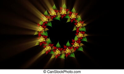 Christmas decoration, Christmas wreath, green, red and golden with rays of golden light rotating on black background, abstract illustration, animation, 30fps, HD1080, seamless loop