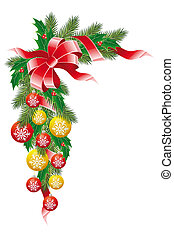 Christmas decoration garland with mistletoe fir-tree and...