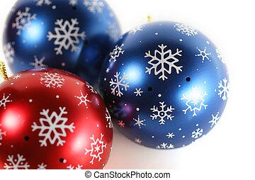 Christmas decoration close-up, isolated on white background.