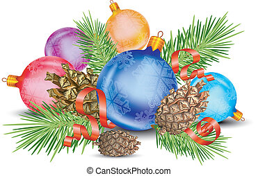 Christmas decoration, cones, green branch, ball and ribbon,...