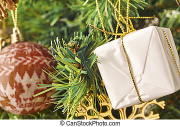 Christmas decoration detail with ornament and ball.