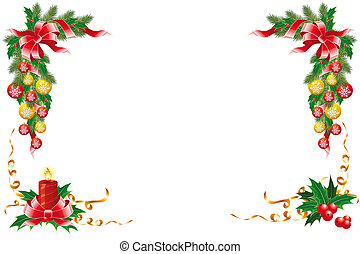 Christmas decoration with garland mistletoe fir-tree and...
