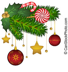 Christmas decoration with candy cane and bolls