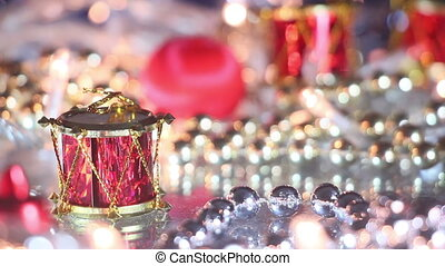 christmas decoration drum close-up seamless loop