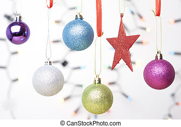 Christmas decoration elements isolated on white background with light