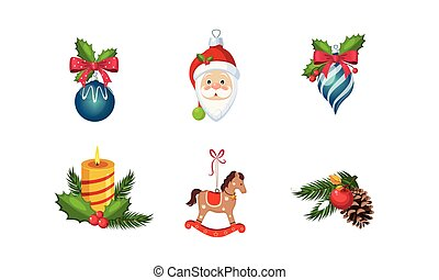 Christmas decoration elements set, New Year holiday objects vector Illustration