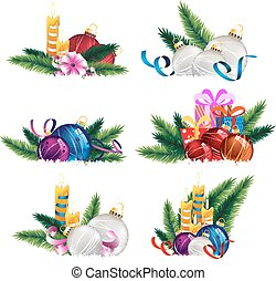 Christmas decoration elements - Set of Christmas and New...