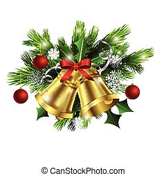 Christmas decoration   evergreen trees and bells