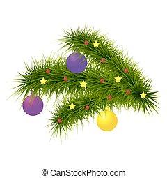 Christmas decoration fir branch. Vector illustration