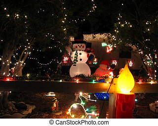 Front yard loaded with illuminated Christmas decorations at night.