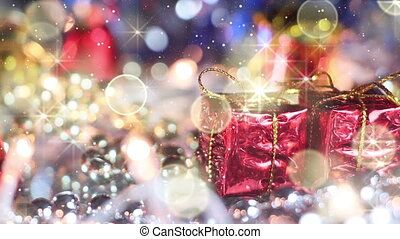 christmas decoration gift box and glitter loopable