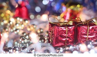christmas decoration gift box close-up seamless loop