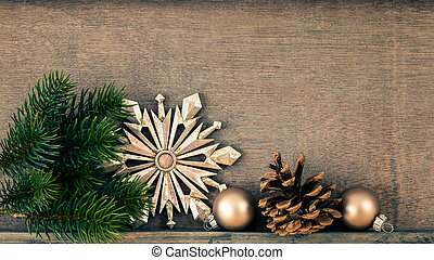 Christmas decoration glass balls with snowflake star twig and pine cone