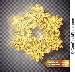 Christmas decoration. Gold snowflake on a transparent background.