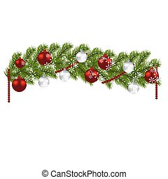 Christmas decoration. Green branches of a Christmas tree with red and silver balls and snowflakes on a white background. New Year decoration. illustration