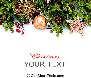 Christmas Decoration. Holiday Decorations Isolated on White Background. Border design