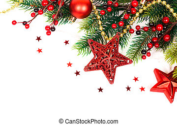 Christmas Decoration. Holiday Decorations Isolated on White Background