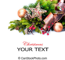Christmas Decoration. Holiday Decorations Isolated on White