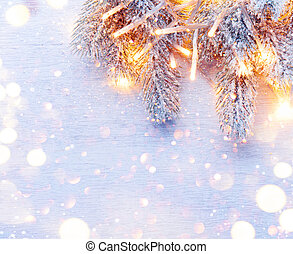 Christmas decoration holiday tree over white wood background