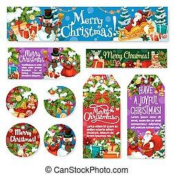 Christmas decoration holiday vector posters tags - Christmas...