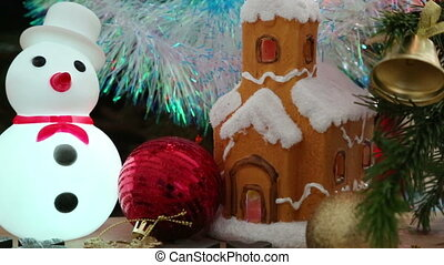 Christmas decoration - house, snowflakes and snowman