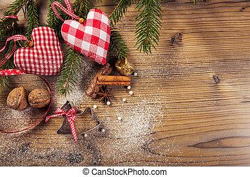 Christmas decoration, idyllic compilation, the wood background