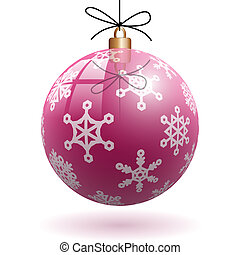Christmas decoration - Illustration of pink Christmas ball...