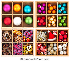 Christmas decoration in a wooden box.