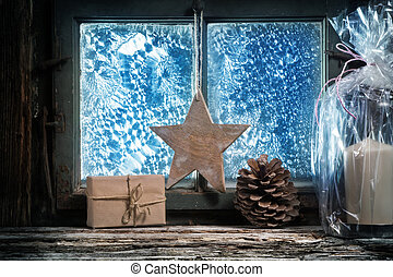 Christmas decoration in front of window