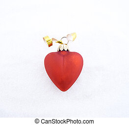 Christmas decoration in the form of red heart