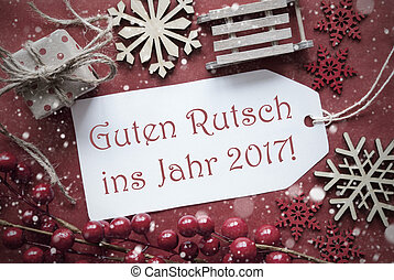 Christmas Decoration, Label With Guten Rutsch 2017 Means New...