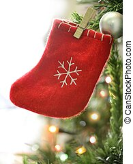 Christmas decoration macro details, red and white -...